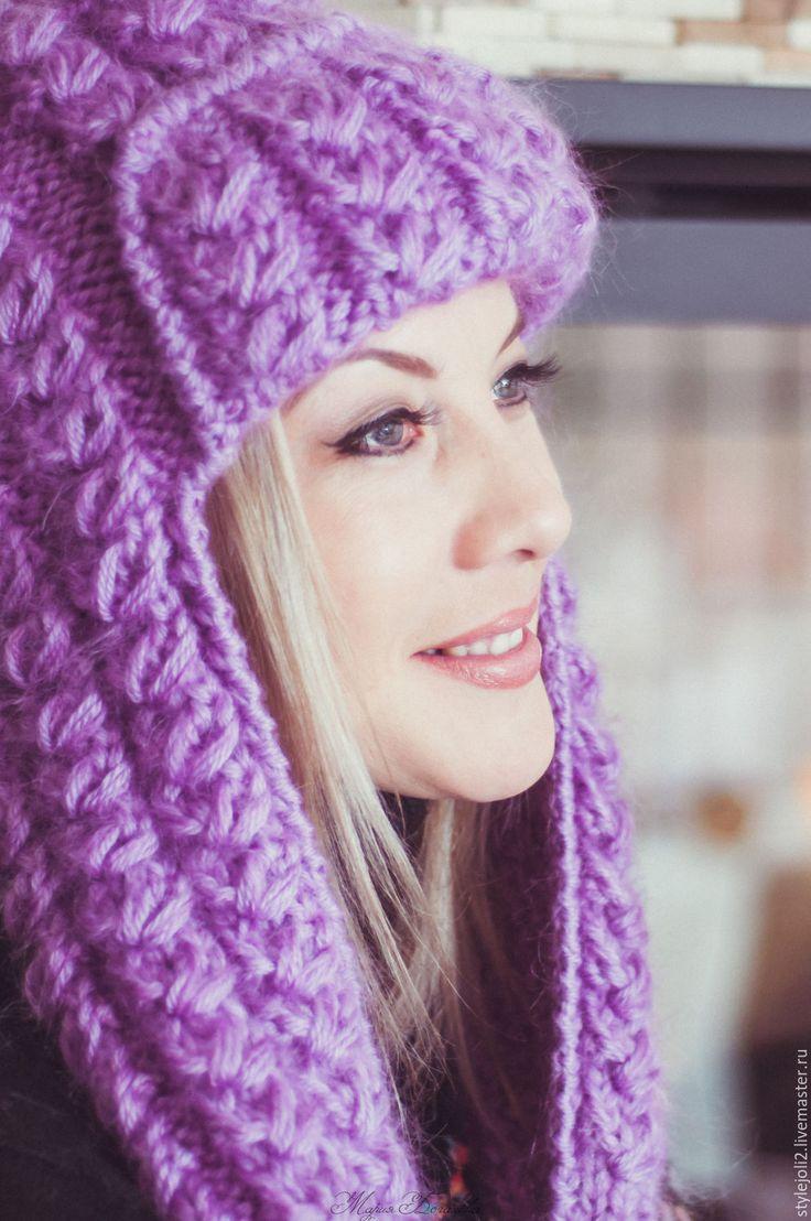Купить или заказать Сиреневая Зима- вязаная шапка с ушками на подкладе в интернет магазине на Ярмарке Мастеров. С доставкой по России и СНГ. Срок изготовления: 3-4 дня. Материалы: мохер 70%, шерсть с акрилом,…. Размер: 55-57, любой на заказ