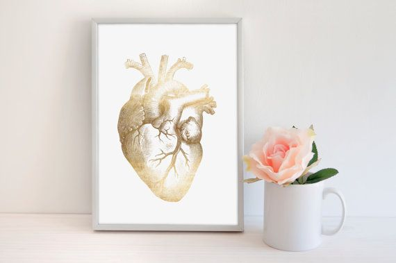 Human Heart Print, Gold Foil Art Print, Medical Print, Human Anatomy Print, Anatomical Poster, Modern Office Print, Modern Home Decor.