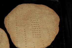 Homemade Unleavened Communion Bread for Churches and Families.  1 c. white flour  1 c. whole wheat flour  1/8 tsp. salt  1/3 c. water  3 tbsp. melted butter  1 egg, slightly beaten  1/8 c. honey    Mix liquid ingredients. Add the dry mixture. Roll out on lightly floured surface making circles 8 or 9 inches. Bake on ungreased cookie sheet at 350 degrees for about 15 minutes.