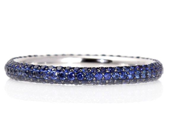 14K Blue Sapphire Eternity Band Wedding Ring Pave Anniversary Band Stacking Ring September Birthstone