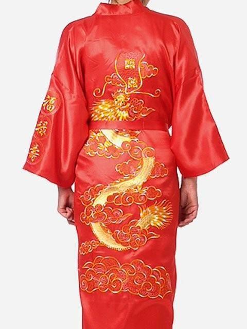 608d09777f1 New Arrival Black Chinese Men s Silk Satin Robe Novelty Embroidery Kimono  Bath Gown Dragon S M L XL XXL XXXL Hombre Pijama S0011