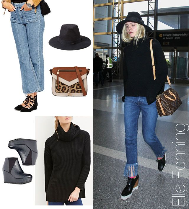 Elle Fanning's fringe jeans and turtleneck sweater look for less:
