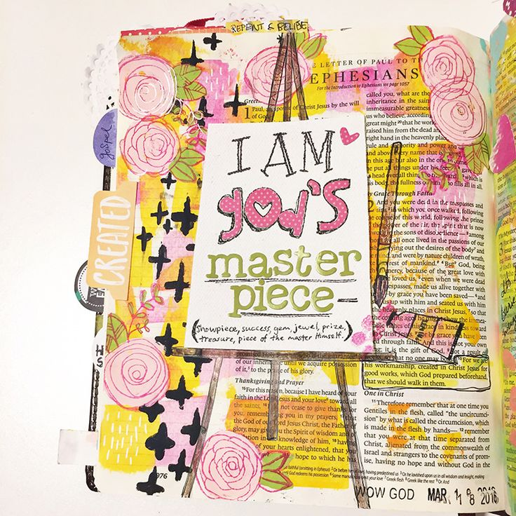 Gina M is illustrating her faith while going through the Illustrated Faith Beautiful devotional and sharing her heart for Ephesians 2:10, being God's masterpiece