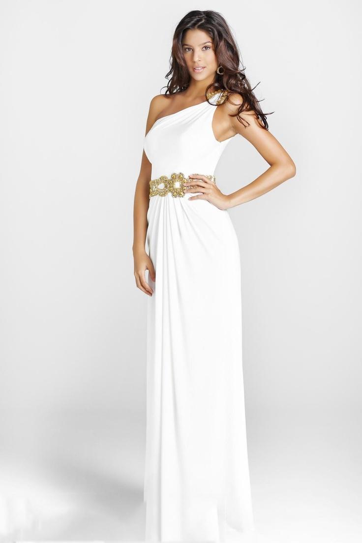 One-Shoulder Column Floor-Length Belt Prom Dresses  Now: $179.00