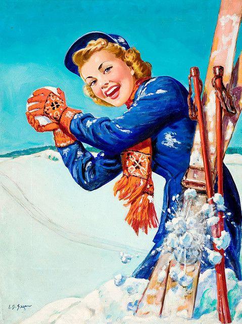 snowballs and skis vintage ski -poster by Barbara Ellen Segner