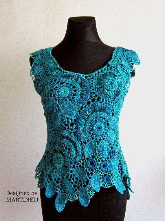 Turquoise Irish Crochet Top Freeform Crochet Lace от MARTINELI