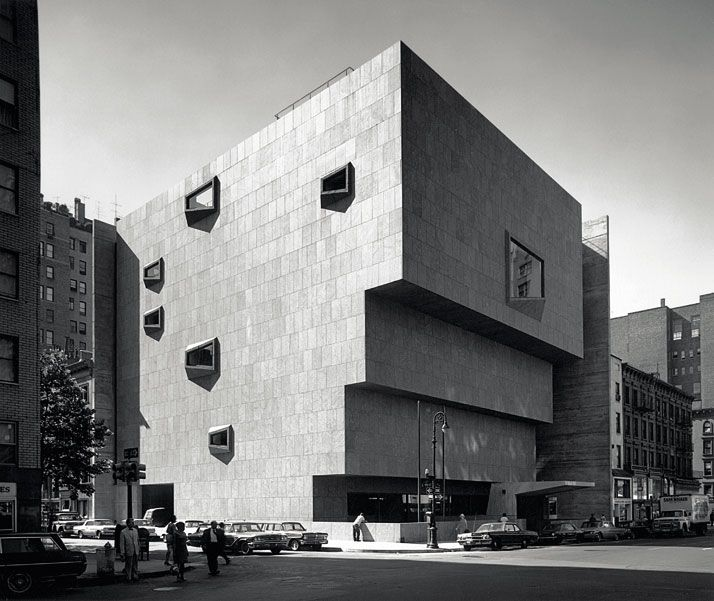 Located on the corner of Madison Avenue and 75th Street in Manhattna is the Whitney Museum of American Art. Built in 1966, it was designed to provide it's visitors with a larger floor plan than the last with every ascending level. It's concrete facade and block form make it a perfect example of Brutalist Architecture (a design movement of the late 60's that was meant to make a statement against the glass buildings that were built in the decade prior).