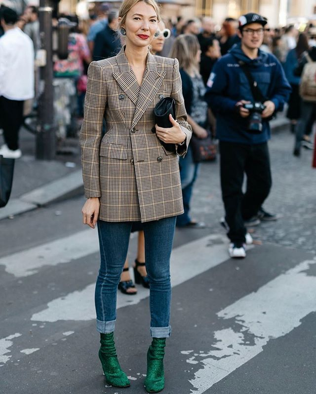 Paris street style - check double breasted blazer