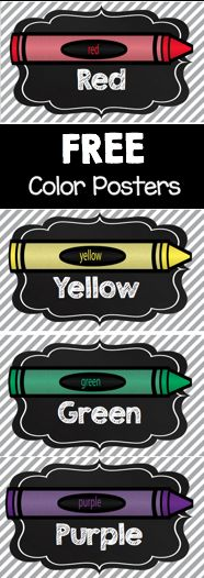 Adorable FREE chalkboard color posters. Love these for my kindergarten…