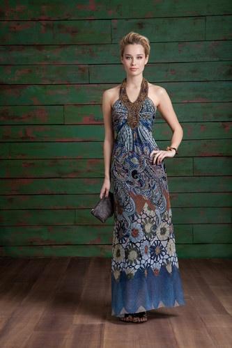 Alberto Makali 55909 Blue Beaded Long Summer Dress