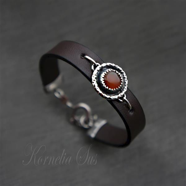 A Drop Of The Heat | LEATHER Bracelet With Silver And Carnelian - product images  of