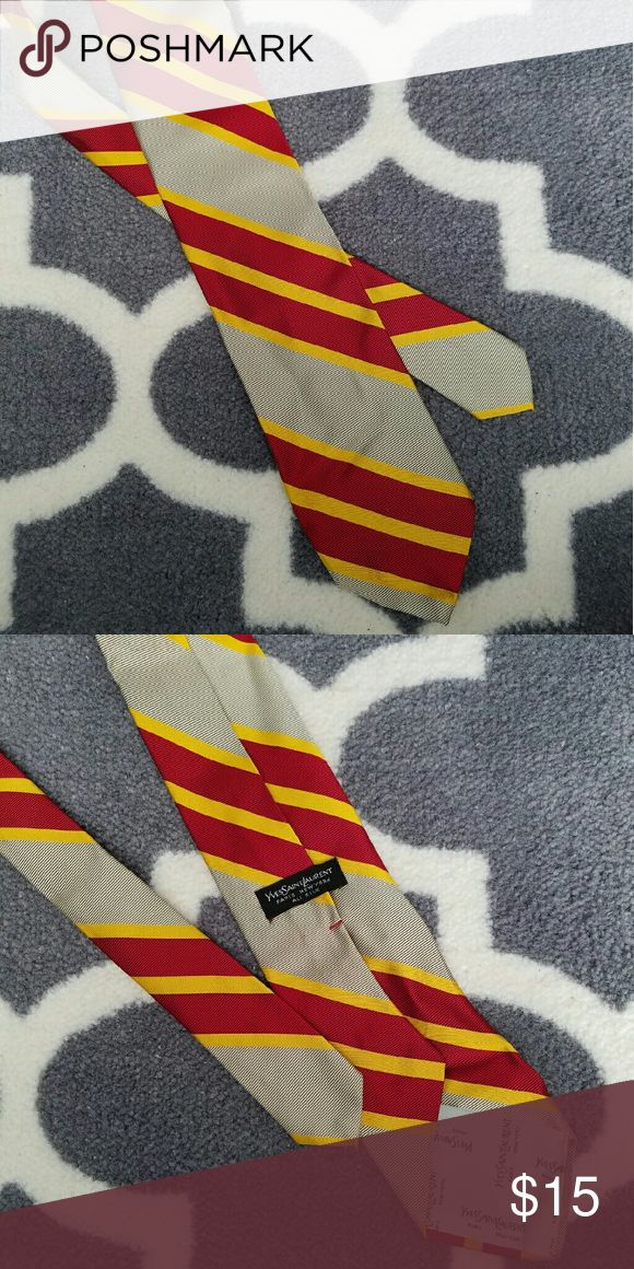 Yves Saint Laurent Silk Striped Tie 100% silk tie with yellow gold and red stripes. Bundle and save 15% Yves Saint Laurent Accessories Ties
