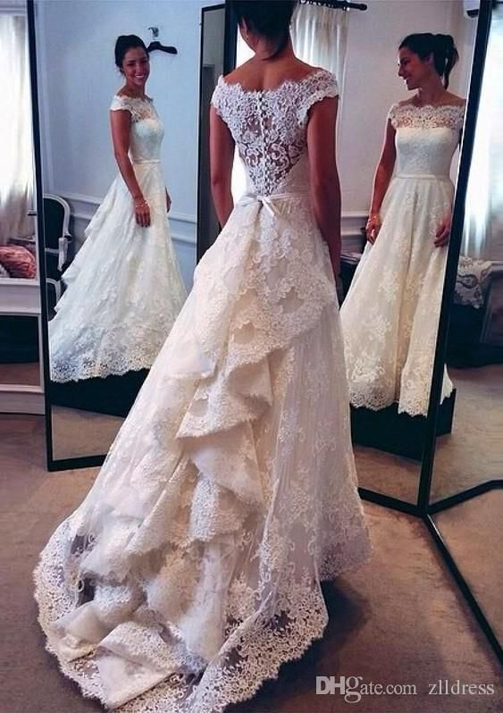 2016 Vintage Lace Wedding Dresses White Sheer Off The Shoulder Short Sleeves Sash Bridal Gowns With Sweep Train