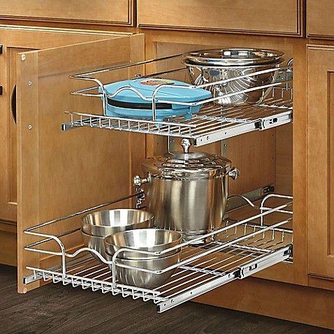 "Rev-A-Shelf 15/"" Pullout Wire Basket Organizer Chrome 22/"" Slides 5WB2-1522-CR"