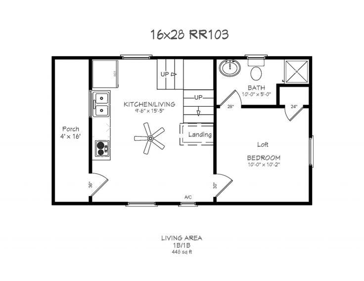 16x24 Cabin Floor Plans Windows 4 X 14 Porch Bath