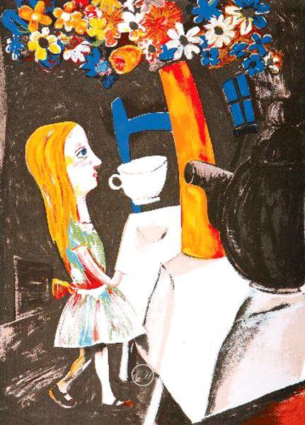 Charles Blackman ~ Always Tea Time (Alice in Wonderland), 2001