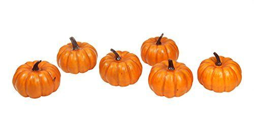 Pack of 6 Thanksgiving Fall Harvest Bright Orange Artificial Pumpkin Decorations 4 *** You can get additional details at the image link.