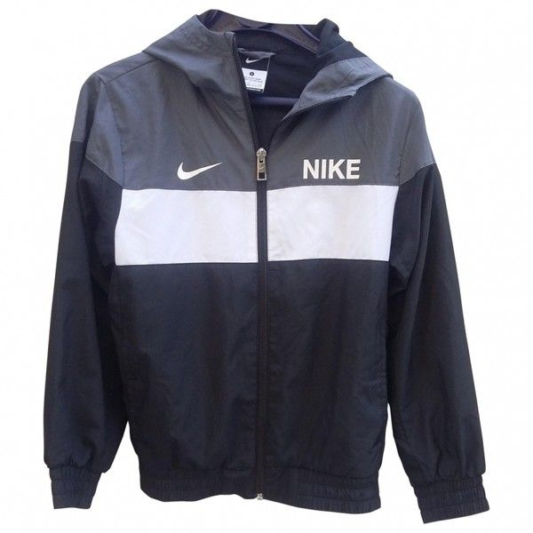 Zipped jacket NIKE ($44) ❤ liked on Polyvore featuring outerwear, jackets, nike jackets, blue zipper jacket, nike, zip jacket と zipper jacket