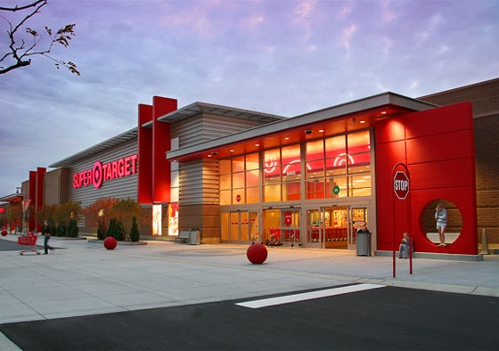 Red exterior of a Target store. Color being used to identify a brand.