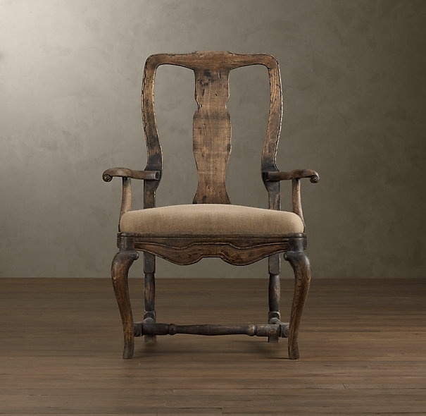 18th C Swedish Rococo Burlap Chair