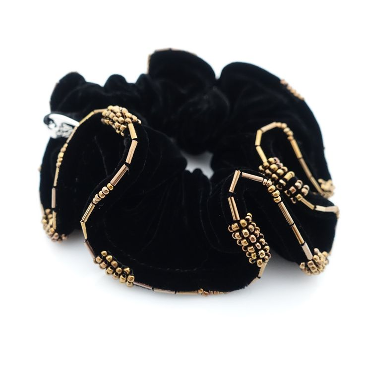 Beaded Trim Luxury Silk Velvet Hair Elastic Black Scrunchies