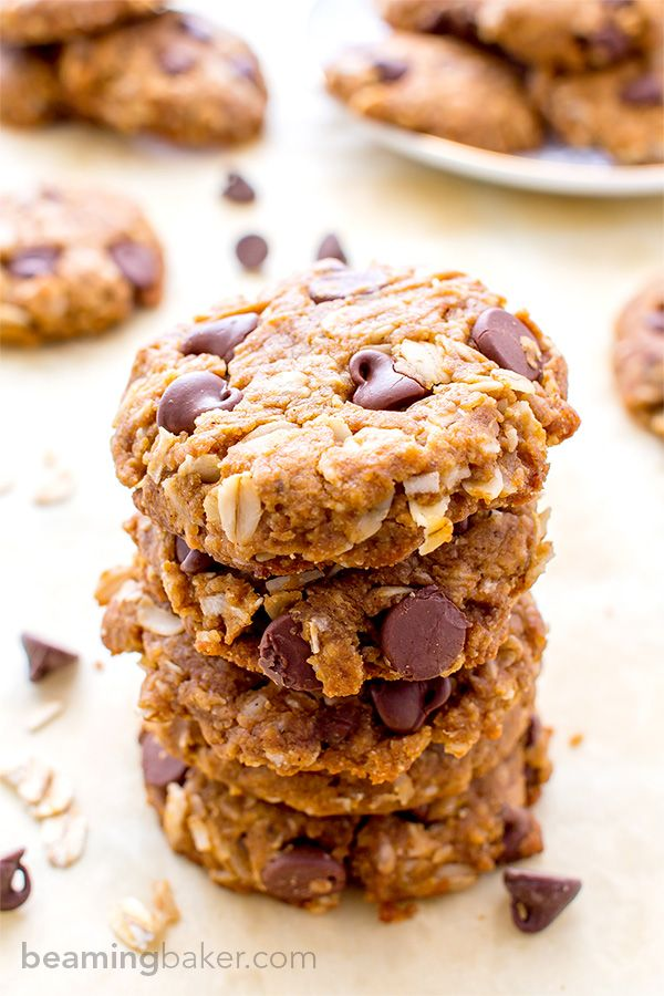 Peanut Butter Chocolate Chip Oatmeal Cookies: An easy recipe for soft, deliciously textured peanut butter cookies. Vegan, Gluten Free.
