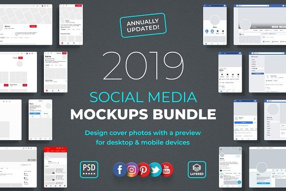 Social Media Mockups Bundle 2020 Social Media Mockup Social Media Social Media Template