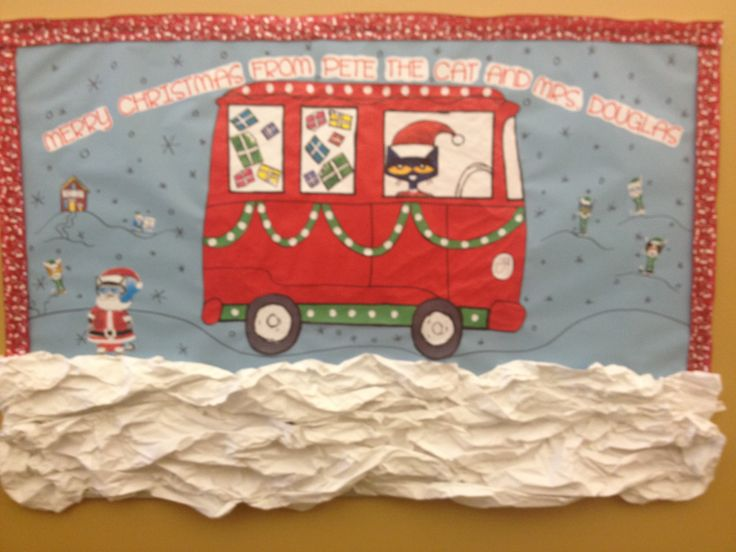 My 2013 Pete the Cat Christmas bulletin board!! I love it! I can't wait till we have the reading express day, December 19th.