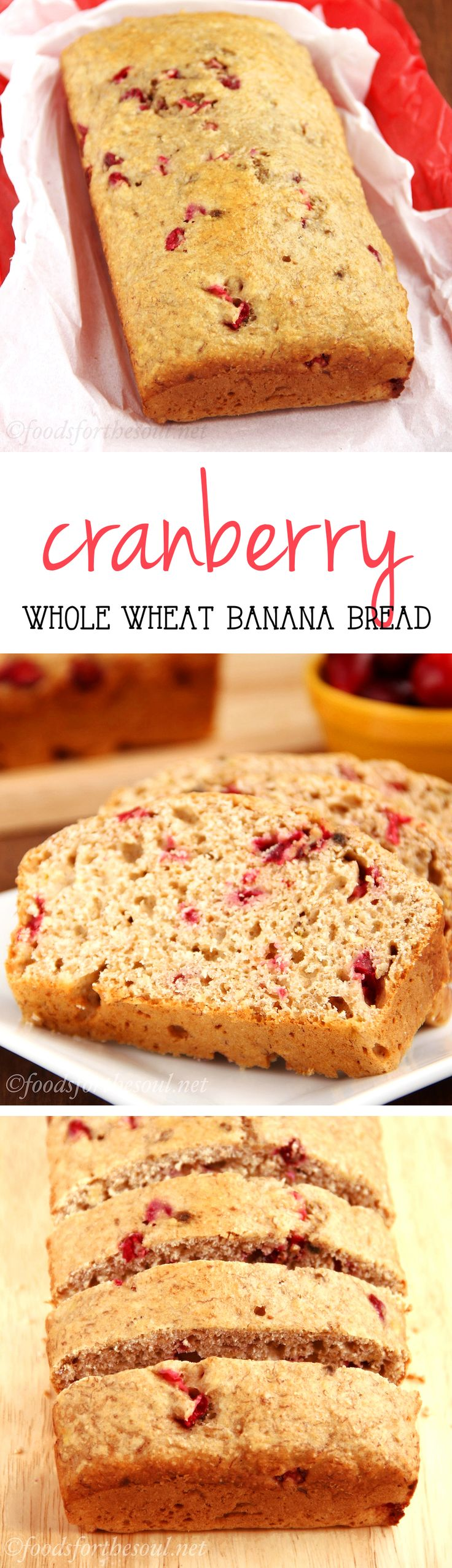 Healthy Whole Wheat Cranberry Banana Bread -- this easy breakfast recipe is perfect for Christmas morning! It's naturally sweetened & one of my family's favorites!
