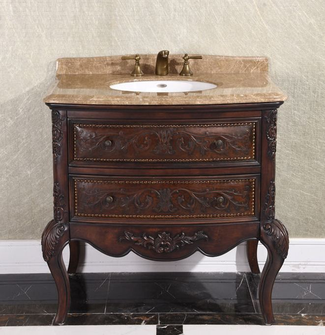 the antique 36 inch vintage single bathroom vanity in brown finish offers a classic warmth for