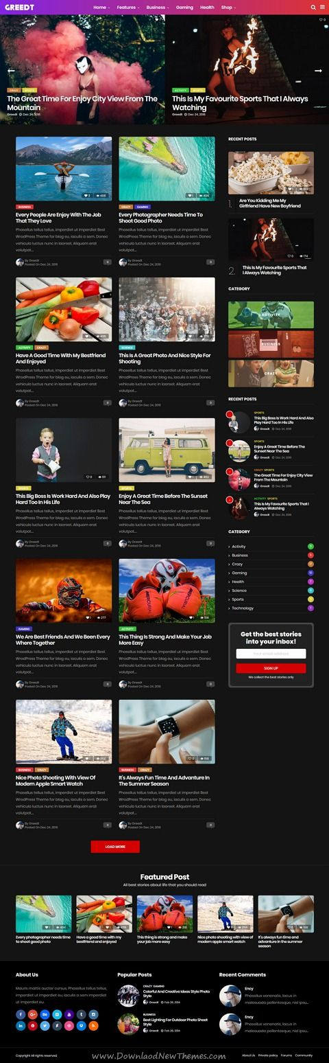 Greedt is clean and modern design responsive #WordPress theme for #news, #blog and #magazine professional website with 9 unique homepage layouts download now..