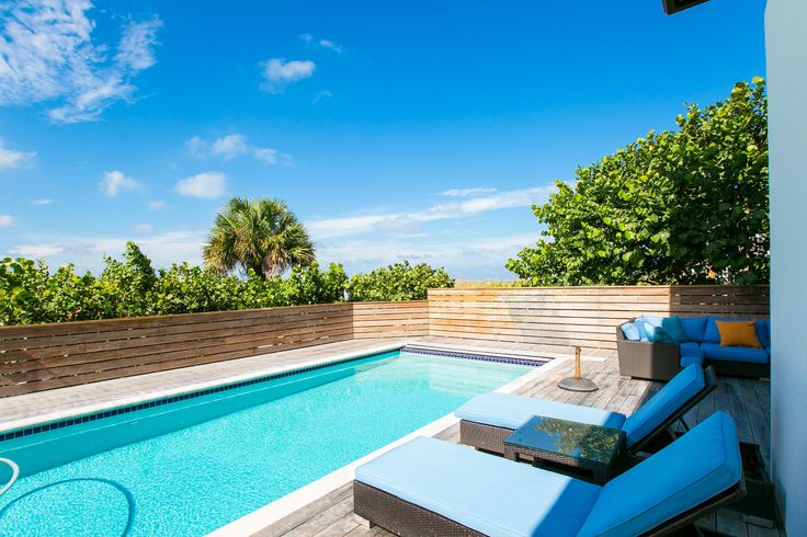 The pool and sun deck at Yellowfish.   Yellowfish House is a new property located on the white, sandy beaches of Anna Maria Island, Florida. In keeping with the beach chic style that we love, Yellowfish has been transformed into a stylish, stunning, yet bright and fun home, adding gorgeous new furniture, sumptuous soft furnishings, beautiful, original artwork and special little features that makes this home so wonderful.