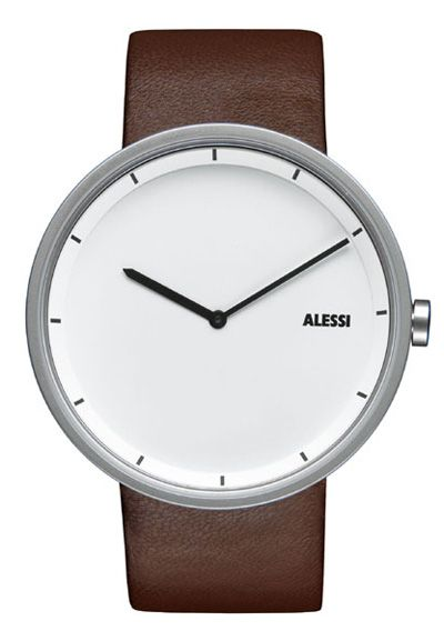 Alessi Mens Out Time Watch AL13001-B White x Brown