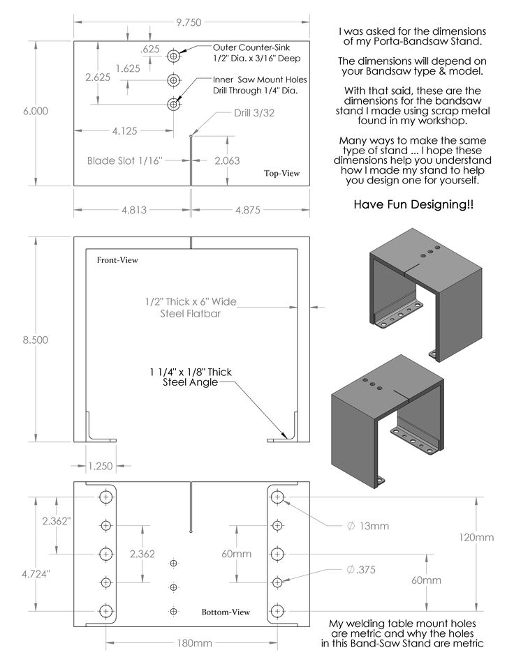 This might be the most helpful; yet simplest, item I have made for my workshop. A drawing  of the Porta-Bandsaw with dimensions is on the bottom of this Post. It is a 'Vertical Tabletop Stand…