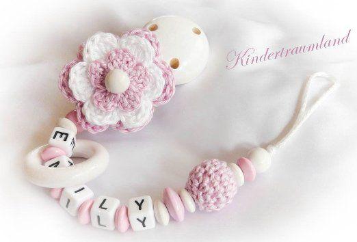 Schnullerkette mit Namen, Blume, Taufe, Häkelblume, rosa, weiß, Perle, Mädchen