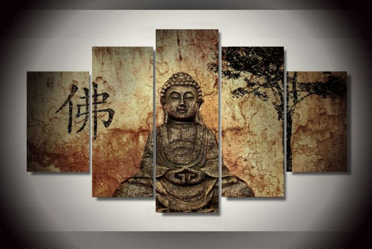 5 Piece Multi Panel Retro Zen Buddha Wall Canvas Art, High Quality Large Retro Multi Panel Wall Painting Free Shipping by OctoTreasures on Etsy https://www.etsy.com/listing/275966886/5-piece-multi-panel-retro-zen-buddha