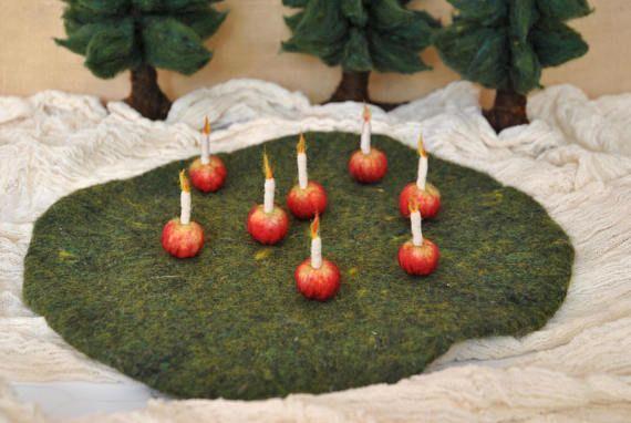 Small needle felted apple/Christmas Decoration Waldorf
