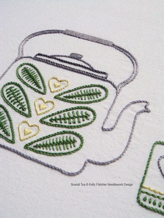 Scandi Tea Scandinavian hand embroidery by KFNeedleworkDesign