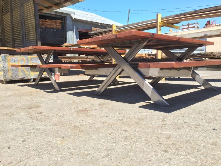Old Growth Redwood Picnic Table With Attached Benches And