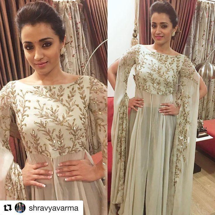 #Repost @shravyavarma with @repostapp ・・・ Actress Trisha playing it her elegant self in this gorgeous @prathyushagarimella outfi