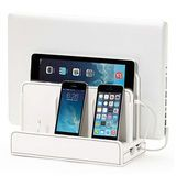 White Leatherette Multi-Device Charging Station w/ USB