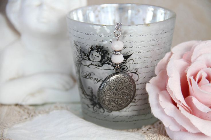 Antique silver engraved photo locket necklace by Heart Jewelry Creations
