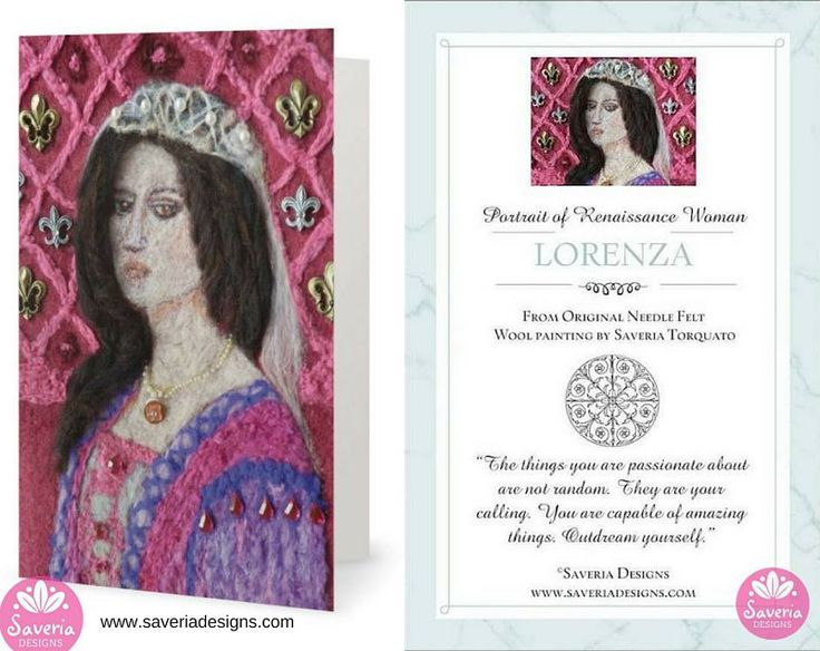 Lorenza - Renaissance Card with Inspirational Quote Insert by Saveria Designs