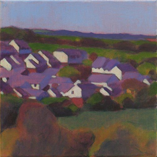 edge_of_town_st_columb 30 x 30 cms Tom Henderson Smith. Click the picture or 'visit site' to access a link to its Artstack page where there are 'zoom' and 'view in room' facilities.