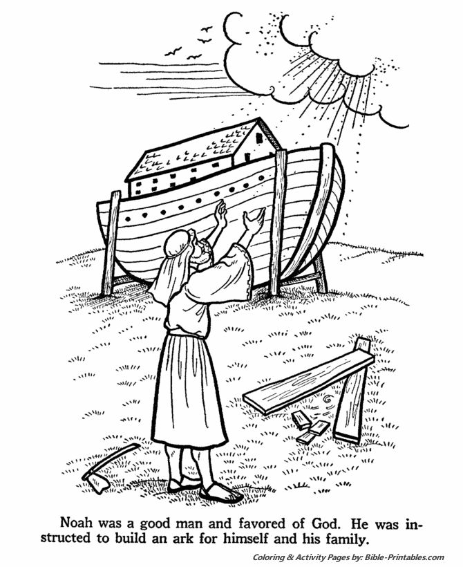 Noah and the Ark Bible Story Coloring Page Sunday school