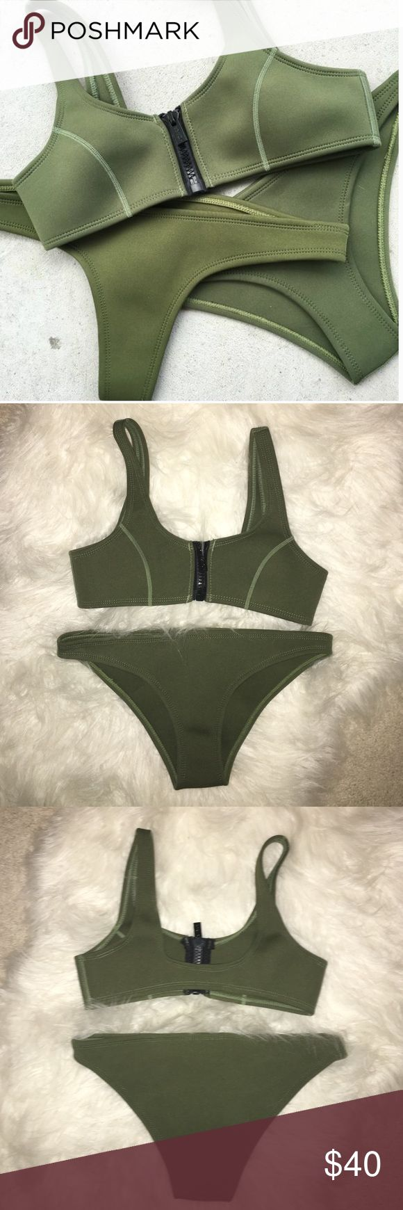 Olive Green Neoprene Bikini Purchased from Hoaka Swimwear, top is too small on me. Top would fit a small A cup best. Bottoms are slightly cheeky. Both size XS. Worn once! Brand tagged for exposure, not Frankie's. Frankie's Bikinis Swim Bikinis