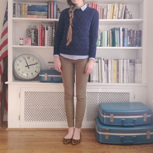 Very cute outfit. I really like the layering of the shirt and sweater.