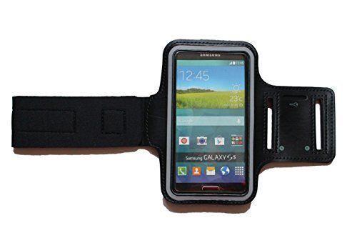 Praktisches Sport-Armband,Fitness-Armband Tasche zb Apple iphone 6, 6S, Samsung Galaxy S4, S5, S6, S6 Edge, A5, Lumia 630, 640 - bis 14,8 x 9 cm für Kopfhörer, mit Klett und Schlüsselfach - Dealbude24 (Schwarz)