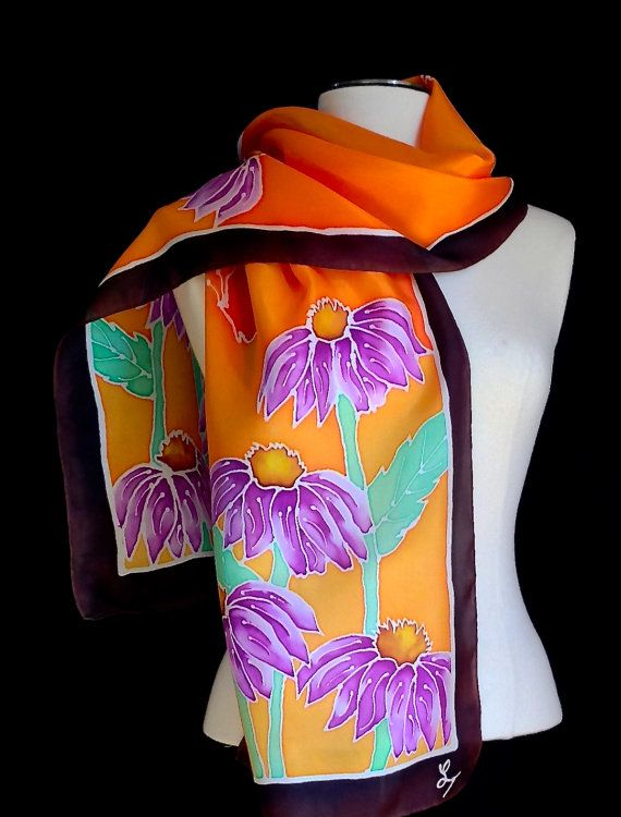 Hand painted silk scarf silk shawl  gorgeous by FantasticPheasant, $45.00