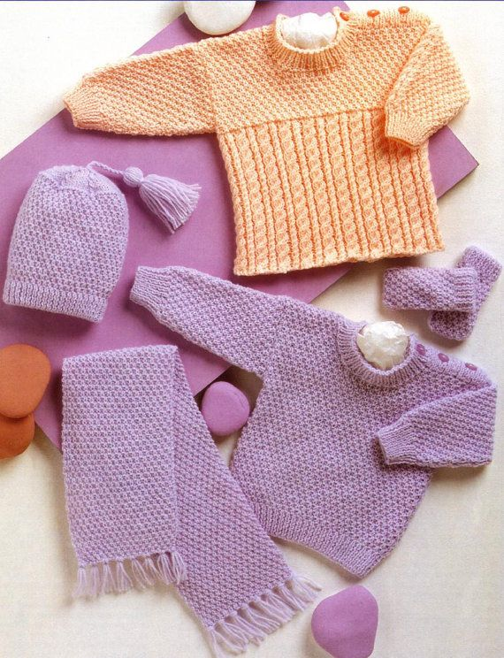 Knitting Pattern For Baby Hat And Scarf : 1000+ images about Baby Layettes - Knitting and Crochet Patterns on Pinterest...